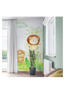 Papel De Parede Painel Infantil Animais Safari 2 Rolos 3M²