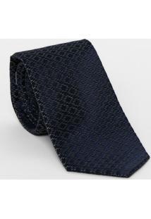 Gravata Em Seda Geométrica - Azul Marinho & Cinza Escurodudalina