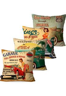 Kit Com 4 Capas Para Almofadas Pump Up Decorativas Bege Garage Retrã´ 45X45Cm - Bege - Dafiti