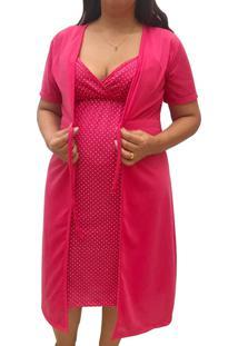 Conjunto Linda Gestante Camisola De Alcinha Amamentação Com Robe Maternidade