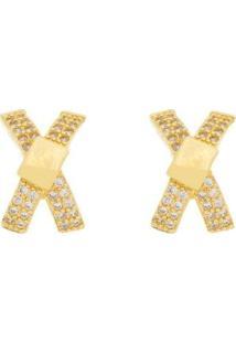 Brinco Aea X Cravejado Zircônias Brancas - Feminino-Dourado