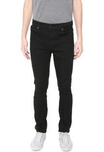 Calça Jeans Lacoste Slim Lisa Preta