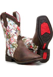 ... Bota Country Capelli Texana Montaria Estampada Couro Feminina - Feminino -Marrom dc8b8ba782f