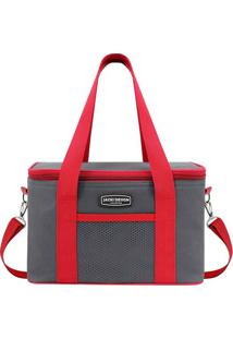 Bolsa Térmica- Cinza Escuro & Vermelha- 18X28X17Cm