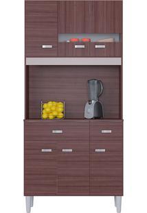 Cozinha Compacta Flex Com 6 Portas E 2 Gavetas Manu – Poquema - Capuccino / Offwhite / Amarelo