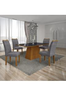 Conjunto Sala De Jantar Mesa Tampo Mdf/Vidro Preto 4 Cadeiras Pampulha Leifer Imbuia Mel/Linho Cinza