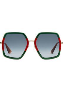 Gucci Eyewear Armação Para Óculos Oversized Com Detalhe Web - Verde