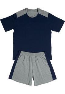 Conj. Pijama Cotton Curto Azul Escuro M