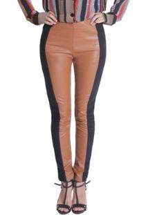 Calça Skinny Miss Joy Leather Feminina - Feminino-Caramelo