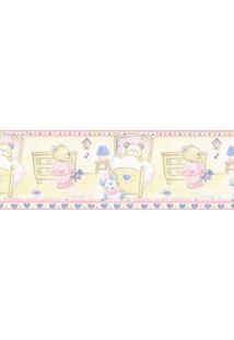 Papel De Parede Border Figuras Rosa, Bege Ursos 5501 Bobinex