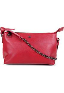 Bolsa Hering Mini Bag Alça Corrente Feminina - Feminino-Vermelho