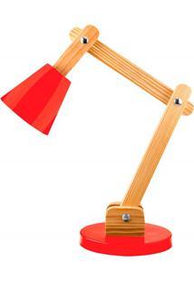 Luminária De Mesa Para 1 Lâmpada Bivolt Cone Vermelha