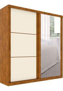Guarda-Roupa Casal Com Espelho Mônaco 2 Pt 3 Gv Nature E Off White