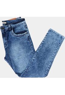 Calça Jeans Plus Size Masculina Tbt Jeans Estonada - Masculino-Azul