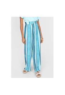 Calça Forever 21 Pantalona Listrada Azul