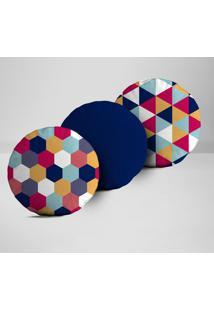 Kit 3 Almofadas Redondas Elementos Geométricos Coloridos