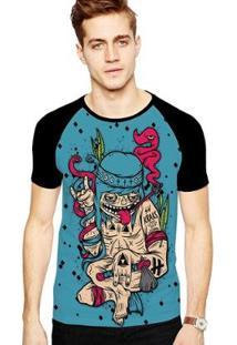 Camiseta Stompy Raglan Modelo 06 Masculina - Masculino-Preto
