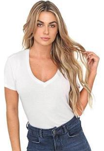Blusa Bloom Decote V Feminina - Feminino-Branco