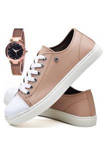 Kit Tênis Sapatênis Casual Fashion Com Relógio Gold Feminino Dubuy R305El Rosa