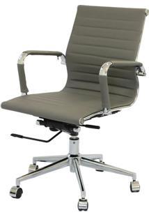 Cadeira Eames Baixa Cinza Base Cromada