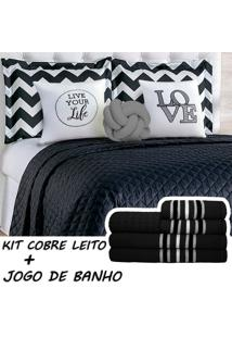Kit Combo Cobre Leito C/ Jogo De Banho Isabela Preto/Cinza Queen 13 Peças. - Tricae