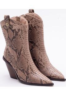 Ankle Boot Couro Snake Areia
