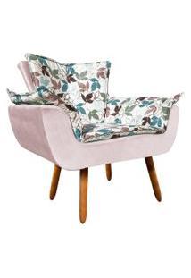 Poltrona Decorativa Opala Composê Estampado Floral D68 E Veludo Rose - D'Rossi