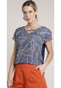 Blusa Feminina Ampla Com Estampa De Folhagem Manga Curta Decote V Azul Marinho