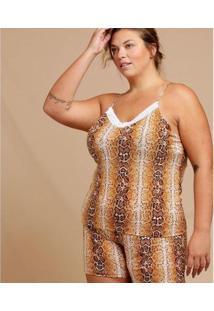 Pijama Chopp Animal Print Plus Size Alças Finas Feminino - Feminino-Marrom