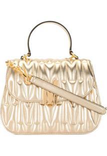 Moschino Quilted M Top Handle Handbag - Dourado