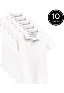 Kit 10 Camisas Polo Basicamente Feminino - Feminino-Branco