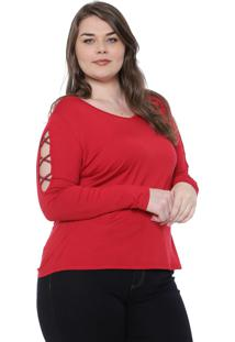 Blusa Cativa Plus Recortes Vermelha