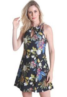 Vestido Praaiah Decote Gota Folhas De Outono - Feminino - Feminino-Preto
