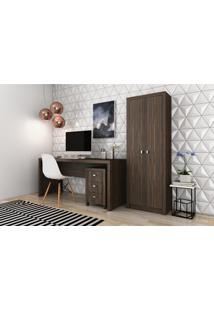 Conjunto Home Office Cb06 Com Escrivaninha Armário Alto E Gaveteiro 3 Gavetas Casa Da Mobília Nogal