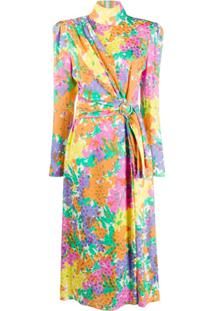 Alessandra Rich Vestido Com Cinto E Estampa Floral - Laranja