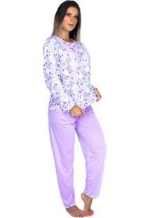 Pijama Longo Bravaa Modas Blusa Botões 017 Lilás