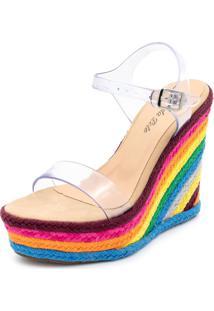 Sandália Anabela Flor Da Pele Multicolorido
