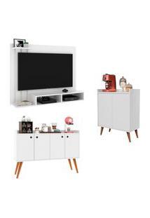 Kit Painel Para Tv Dubai - Branco / Aparador Buffet Retrô 4 Portas Dallas - Branco / Aparador Buffet Retrô 2 Portas Barthô - Branco