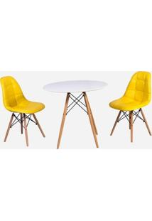 Conjunto Mesa Eiffel Branca 90Cm + 2 Cadeiras Dkr Charles Eames Wood Estofada Botonê - Amarela