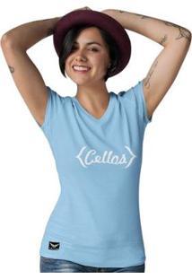 Camiseta Gola V Cellos Retro Premium Feminina - Feminino-Azul Claro
