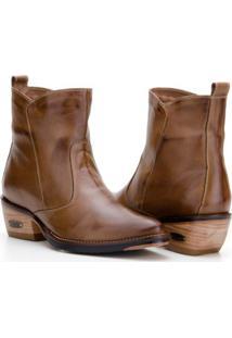 Bota Country Capelli Boots Couro Cano Curto Feminina - Feminino-Marrom