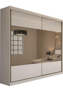 Guarda Roupa Royal 2 Portas Com 4 Espelhos Branco Brilho