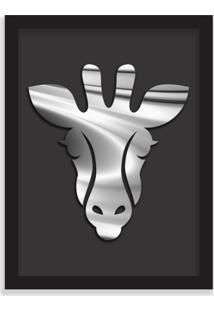 Quadro Decorativo Em Relevo Espelhado Zebra Prateada Preto - Médio