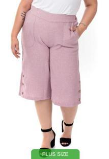 Calça Pantacourt Plus Size Rosa Gris Plus Size