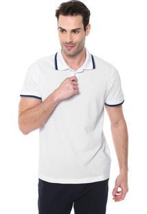 Camisa Polo Colombo Reta Listras Branca/Azul