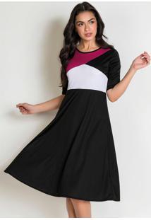 Vestido Evasê Tricolor Moda Evangélica