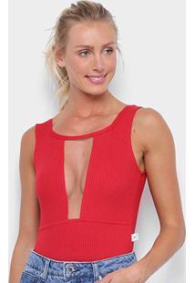 Body Mercatto Canelado Gola Decote - Feminino-Vermelho