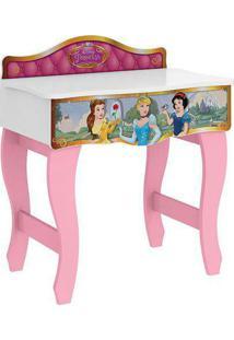 Penteadeira Princesa Pura Magia Disney Premium C/Espelho Branco Rosa