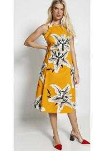 Vestido MãDi Floral Com Transpasse - Amarelo & Cinzaosklen
