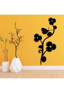 Escultura De Parede Em Mdf Flor Vertical Decorativa Preto - Médio